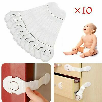 10X Child Baby Kid Cupboard Cabinet Safety Locks Proofing Door Drawer Fridge Pet