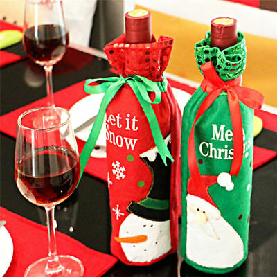 2Pcs Christmas Theme Wine Bottle Holder Cover Gift Bag Presents Table Xmas Bags