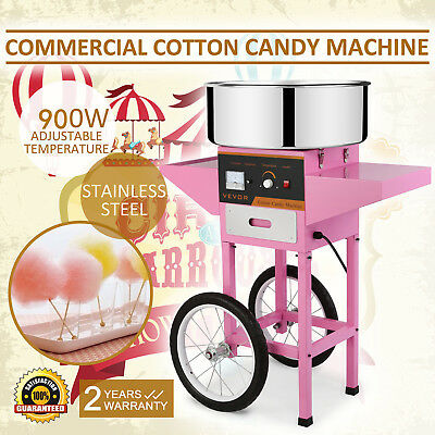 Commercial Electric Candy Floss Machine Cart Pink Cotton Candyfloss Sugar Maker