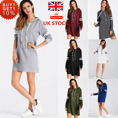 Womens Hooded Long Sleeve Dress Hoodie Sweatshirt Casual Pullover Tops Jumper