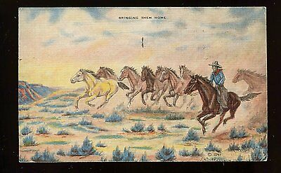 Bringing Them Home Cowboy Horse 1941 Dude Larsen Oil Painting Linen Postcard 680