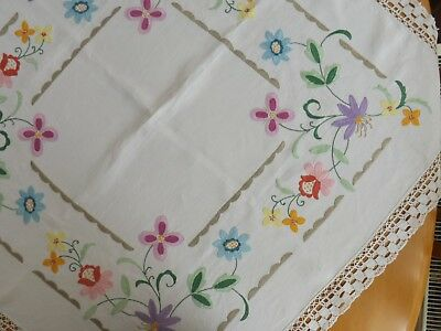 Vintage Embroidered With Crochet Lace Edge 39 Inches Approx Square Table Cloth