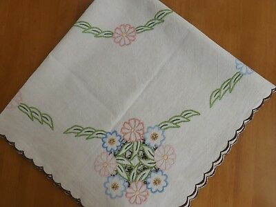 Vintage Embroidered Cut Work 40 Inches Square Approx Table Cloth
