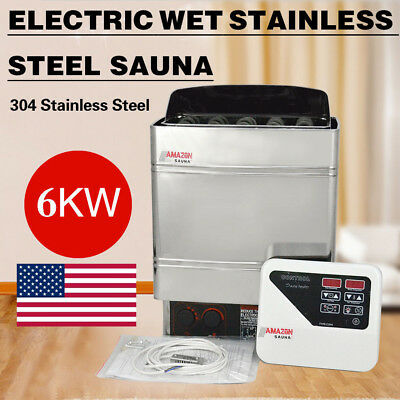 6KW Digital Sauna Heater Stove Wet&Dry Stainless Steel External Control 220V USA