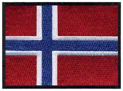 NORWAY Flag (Norges flagg)  High Quality Embroided Iron On / Sew On Patch Badge