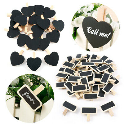 Chalkboard Pegs Message Board Sign Home Wedding Table Place Names Pick Shape/QTY