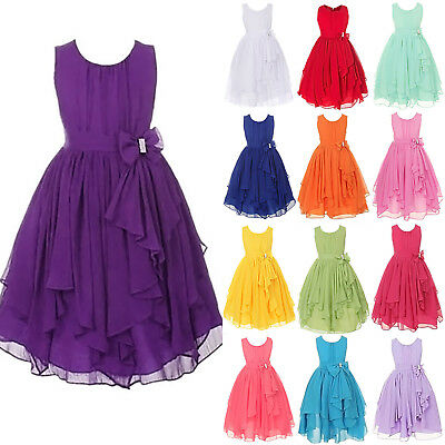 Girls Bridesmaid Skater Casual Dresses Kids Summer Party Belle Age 2-12 Years UK