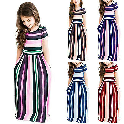 Girls Striped Maxi Dress Age 3-9 Years Casual Colour Long Skirt Party Clothes UK