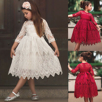 Princess Lace Pleated Dress Kids Flower Girls Rose Bow Christmas Costumes Party