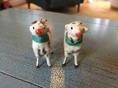 Two Putz Rams Sheep Germany German Stick Leg Wooly Nativity Lambs Antique