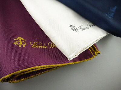 Lot of 3 BROOKS BROTHERS Pocket Square Handkerchief 100% Silk Navy NWOT $135 New