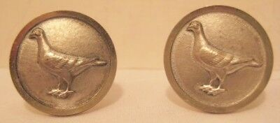 Old Pair of Mens Cufflinks - Silver Plated Embossed Birds Pigeons / Doves