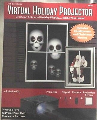 Mr Christmas Virtual Holiday Projector With USB port, Screen, Remote and Tripod