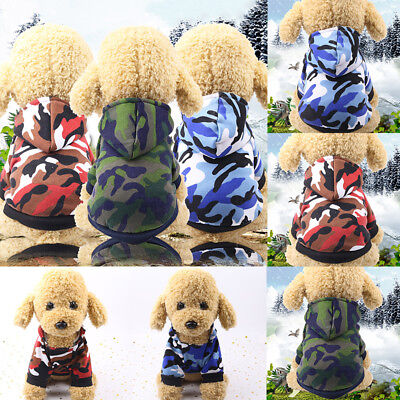 Puppy Pet Dog Sweater Jumper Hoodie Coats Warm Costume Camouflage Apparel