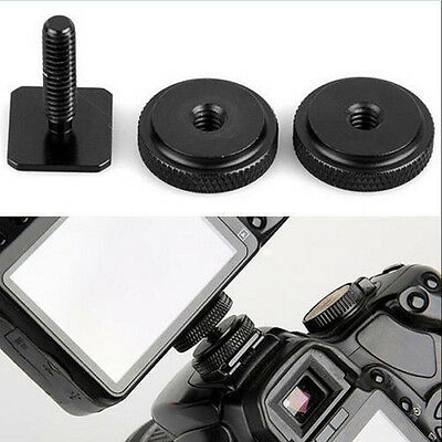 """1/4"""" inch Dual Nuts Tripod Mount Screw To Flash Camera Hot Shoe Adapter YT"""