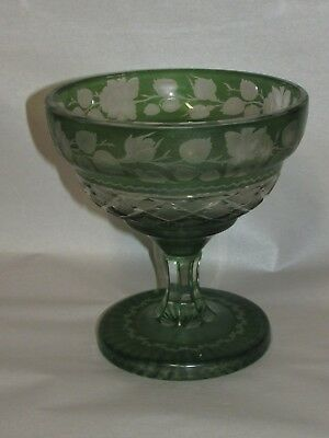 Antique Art Glass Cut to Clear Vase or Compote  in Green Bohemian ?