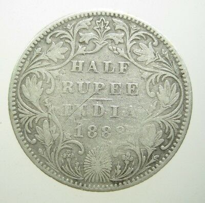 India 1/2 Rupee 1888 Silver British Queen Victoria Indian Scarce 66# Money Coin