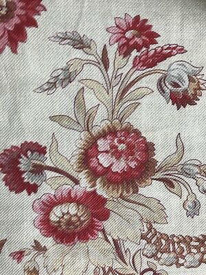 "Stunning Antique french Block Printed Floral Fabric 20""/48"""
