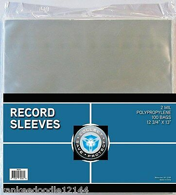 "(100) New CSP 33 1/3 RPM Record Album Clear Polypropylene Sleeves 12 3/4"" X 13"""