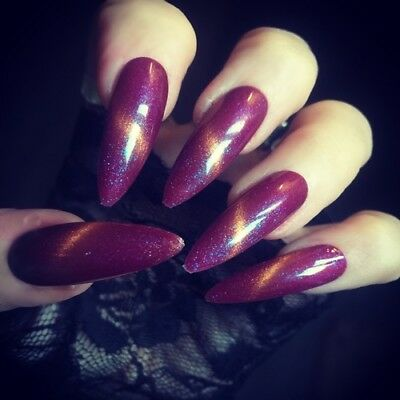 Hand Painted False Nails Cat Eye Purple Extra Long Stiletto Press On Nails