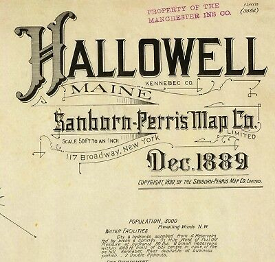 Hallowell, ME, Maine ~Sanborn Map© sheets~6 maps 1889 on a CD in color