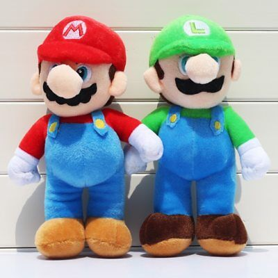 2pcs/lot 25cm Super Mario Bros Plush Toys Mario Lugi Stuffed Dolls Toys Gift