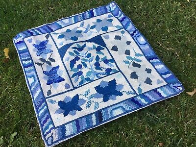 Vintage Tapestry Embroidered Picture Hand Stitch Floral Cushion Front Blue Mix