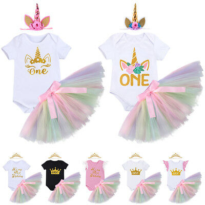 3PCS Baby Girl Unicorn 1st Birthday Party Outfit Tutu Romper Dress Photo Costume