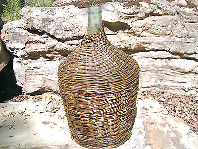 LARGE Wicker wrapped Italian Wine Bottle Demijohn Jug 0747