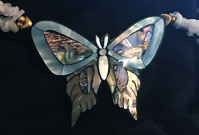 Mother of Pearl Inlay Butterfly Necklace Jewelry Blue lace Agate Beads 10K Gold