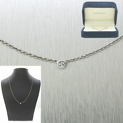 Elegant Vintage Estate 14k Solid White Gold 0.10ctw~ Solitaire Diamond Necklace