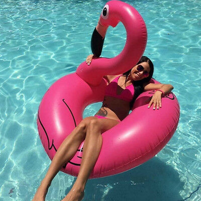 Inflatable Giant Flamingo Swim Ring Float Raft Swimming Pool Beach Water Durable