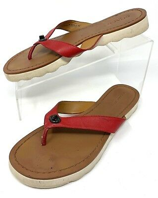 ae31b78a95d4 COACH RED LEATHER Thong Slide On Shelly Flip Flop Sandals Size 9 M ...