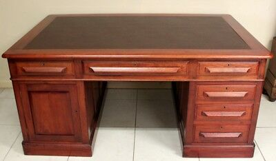 Antique Partners Desk Australian Colonial Cedar  Circa 1890 Leather Surface