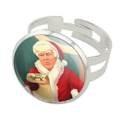 Santa Donald Trump with Naughty List Ch Silver Plated Adjustable Novelty Ring
