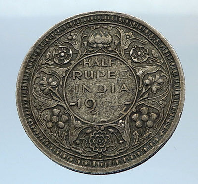 1944 INDIA States Silver 1/2 RUPEE Indian Coin UK George VI Vintage Coin i71649