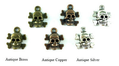Antique Copper Brass Silver 15x13mm Skeleton Skull and Crossbones Charms Q32