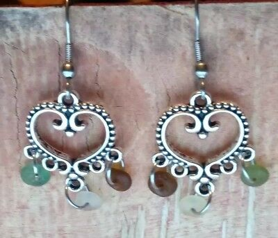 Ancient Roman Glass Earrings Dangle Tiny Heart Multi color Recycled Love Gift