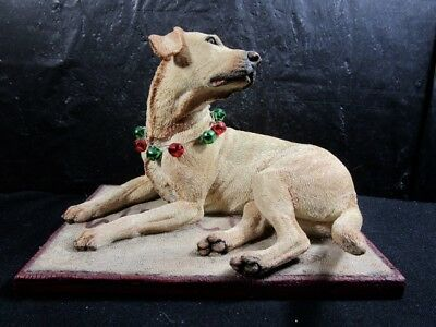 Large  Hand Painted  TOP DOGS  Golden Retriever  -  Laying On Mat  Figurine