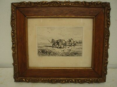 Charles Jacque Etching Pastoral Scene French Barbizon School
