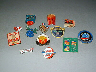 Vintage RARE McDonalds Employee Crew Manager Collectible Pins Lot of 13