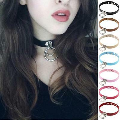 Men/'s Women Punk Goth Leather Skull Feather Ring Collar Choker Funky Necklace
