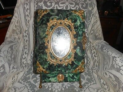 Antique Victorian Mirrored  Green Velvet Photo Album on Stand with Drawer