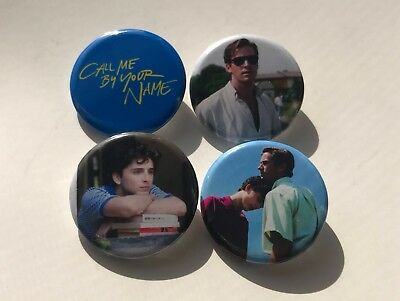 """Call Me By Your Name 1.25"""" Buttons Pins Set Of 4 Timothee Chalamet Armie Hammer"""