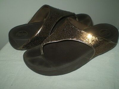 f58d927905d6 FitFlop Micro Wobble Board Brown Sparkle Flip Flops Thong Toning Sandals 9  41