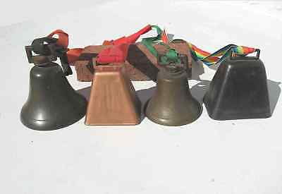 """4 Antique Vintage Bells Bronze and Other Metal 4"""" Cow Bells Christmas Holiday"""