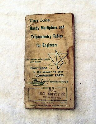 Vintage Carr Lane Handy Multipliers and Trigonometry Tables for Engineers 1962