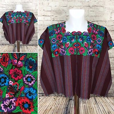 Guatemalan Butterfly Floral Huipil Poncho Purple Blue Green Embroidered A9-2