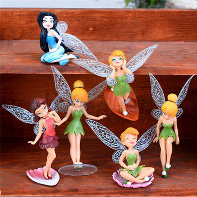 6pc Tinkerbell Fairies Princess Action Figures Doll Toy Miniature Home Office