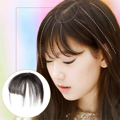 Remy Human Hairpiece Clip in 100% Human Hair Topper Piece Thin Flat Bangs Fringe